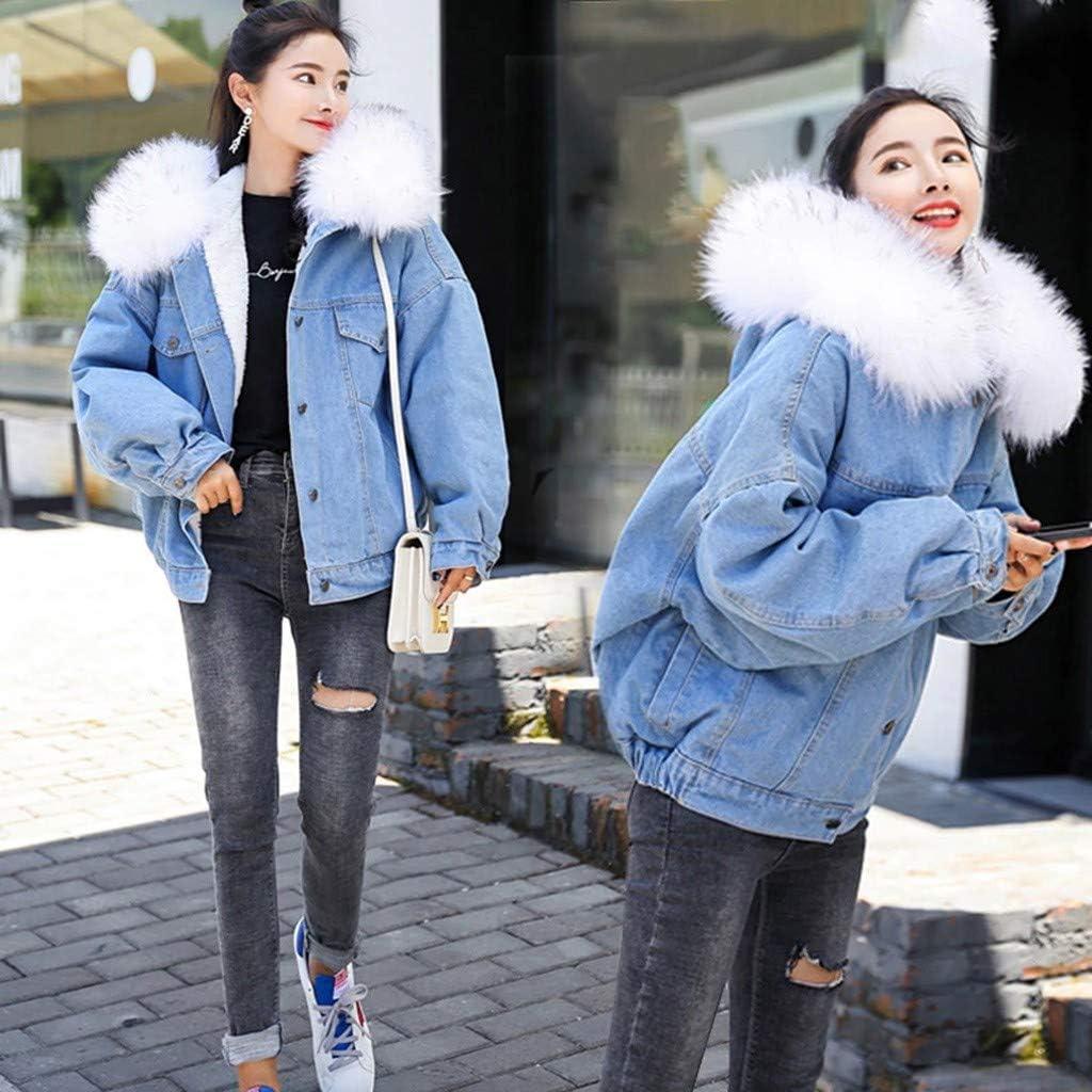 DOLDOA Mantel Damen,Frauen warme Denim-Kurzmantel-Kragen-Jacke dünne Winter mit Kapuze Outwear Mäntel Weiß