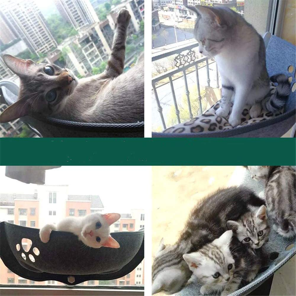 DBSCD Cat Hammock Bed Hammocks Window Perch Seat Kitten Sunny Crescent Shaped with Suction Cup Mounted Animal Pet Cot Beds Upgraded Version Cups Large Kitties
