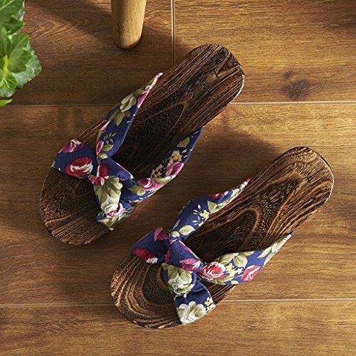 sabots XIANG d'été en SHOP plat style japonais Blue taille UK7 SHI Flowers femme LI Sabots Couleur chaussures chinois femmes Black style EU40 bois Flowers CN41 dérapant anti Pantoufles sandales fond 5RwXq5v