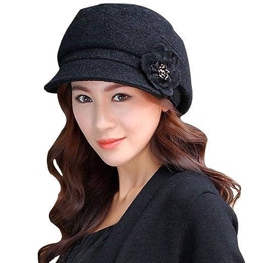 deb69e7b5bb LerBen Women Knitted Warm Cloche fedora Brim Bowler Hat Slouchy Cap (Black (2)