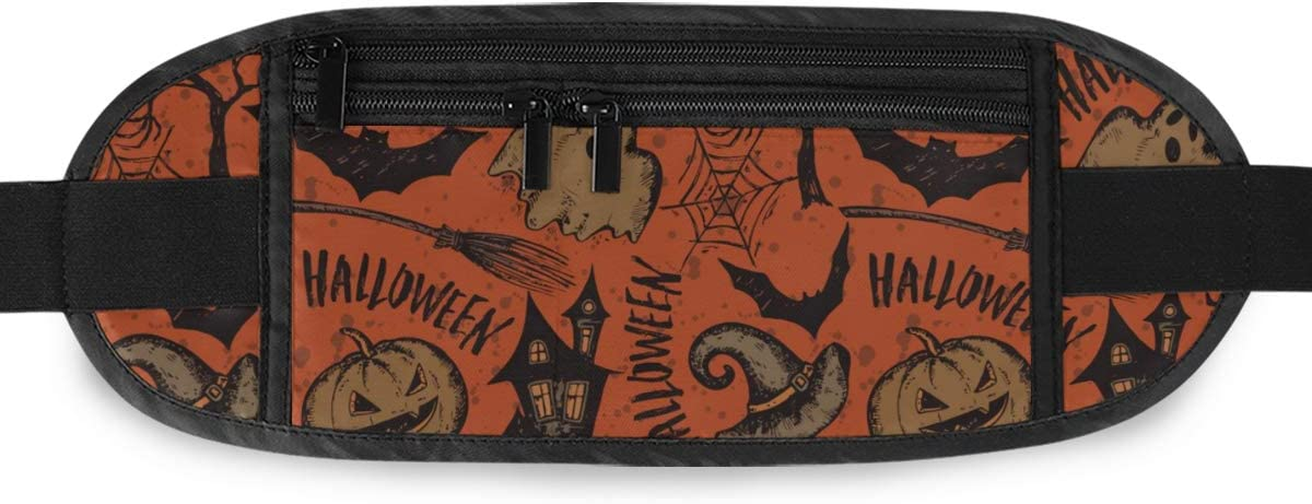 With Sketch Halloween Running Lumbar Pack For Travel Outdoor Sports Walking Travel Waist Pack,travel Pocket With Adjustable Belt