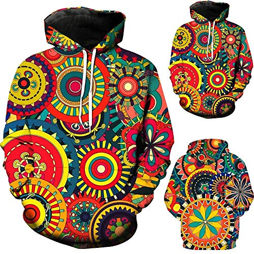 African Dashiki Hoodies for Men,Leegor Casual Long Sleeve Pullover Womens Drawstring Floral Sweatshirt with Kangaroo Pocket