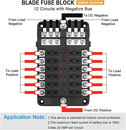 Amazon.com: Electop 12-Way Blade Fuse Block, 12 Circuits with Negative Bus Fuse  Box Holder with LED Indicator Damp-Proof Protection Cover Sticker for  Automotive Car Truck Boat Marine RV Van: AutomotiveAmazon.com