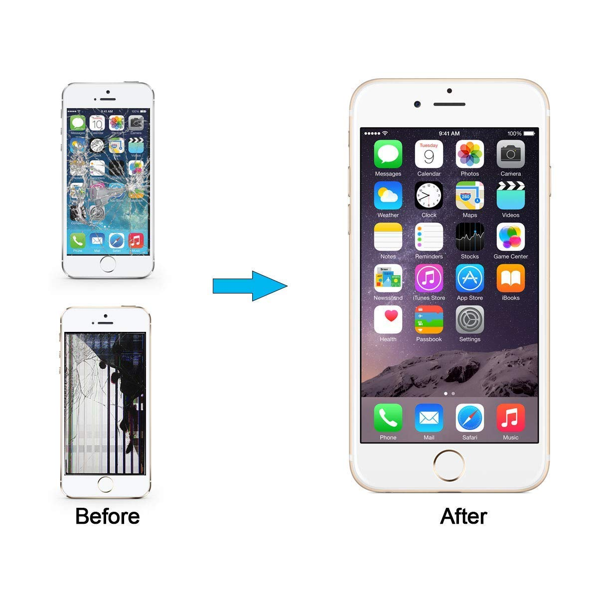 Screen Replacement Compatible with iPhone 6s Plus Full Assembly - LCD 3D Touch Display Digitizer with Sensors and Front Camera, Fit Compatible with iPhone 6s Plus-White by YUDALCD