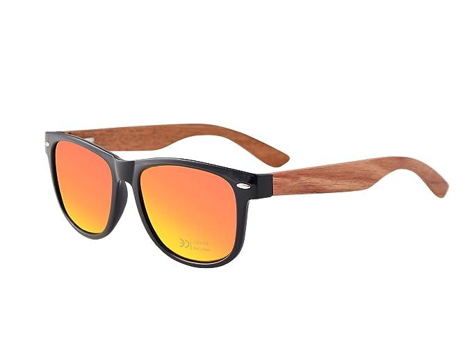 MADEN Gafas de madera para hombre y mujer - UV400 Protection Gafas de sol con patillas de madera en diferentes colores (Naranja)