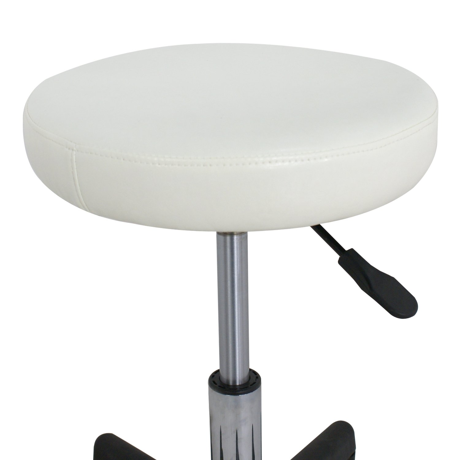 F2C Leather Adjustable Bar Stools Swivel Chairs Facial Massage Spa Salon Stool with Wheels White/Black (2PCS White) by F2C (Image #3)