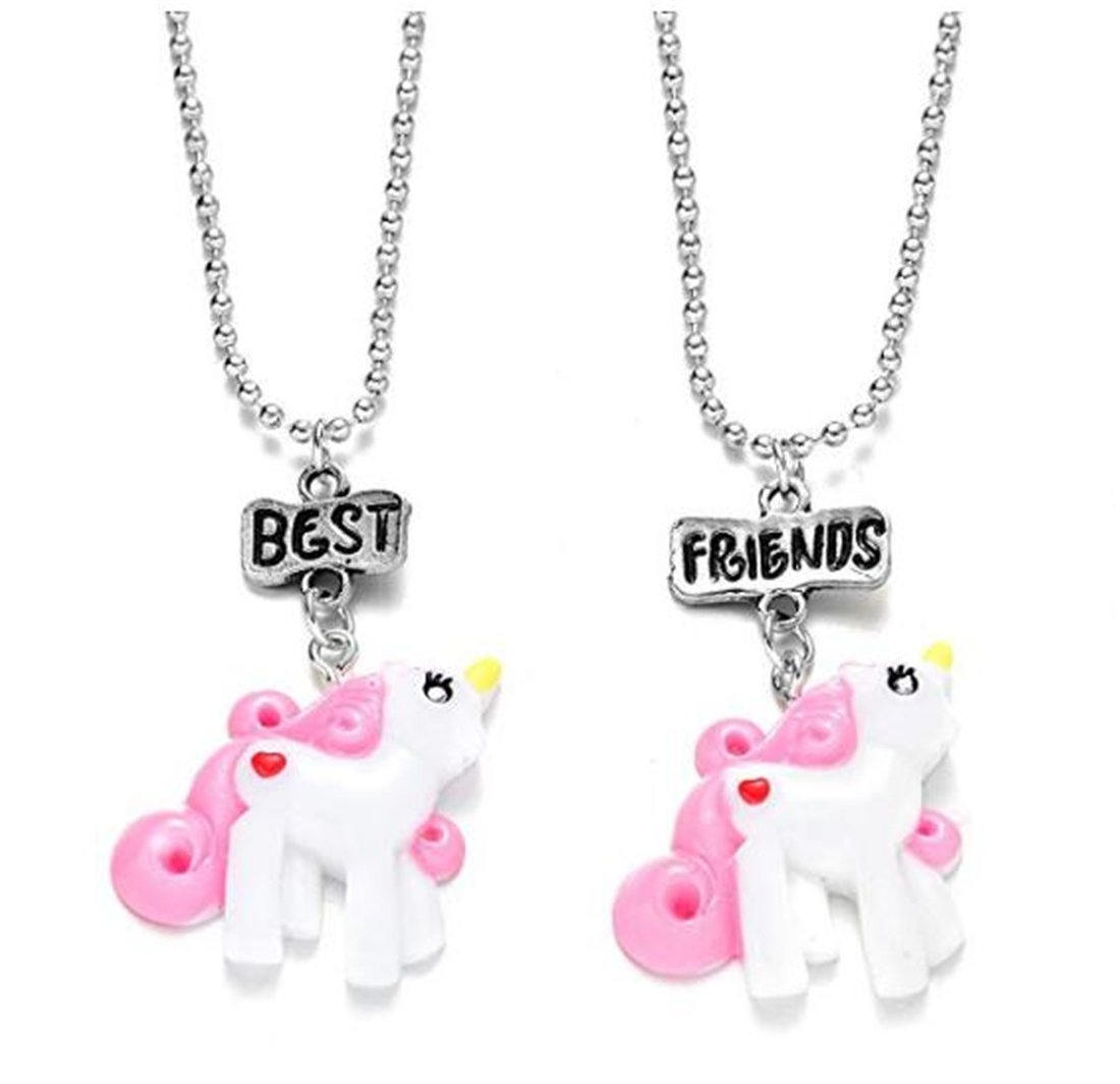 Tmrow 2 Packs BFF Best Friends Necklace Set for Kids Girls