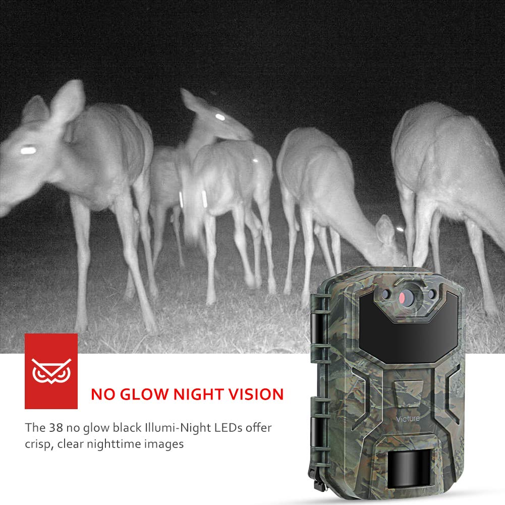 Victure Trail Camera 16MP 1080 HD 2.0'' LCD Game Cam Night Vision Motion Activated with Upgrade Waterproof Design 38Pcs IR LEDs No Glow for Wildlife Hunting and Surveillance by Victure (Image #3)