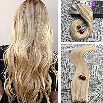 blonde two color Honey tone hair