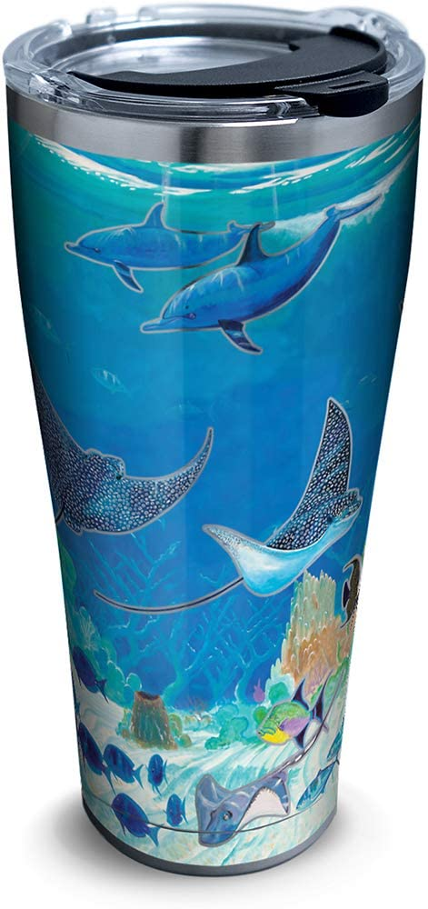 Tervis 1315975 Guy Harvey - Ocean Scene Stainless Steel Insulated Tumbler with Lid, 30oz, Silver