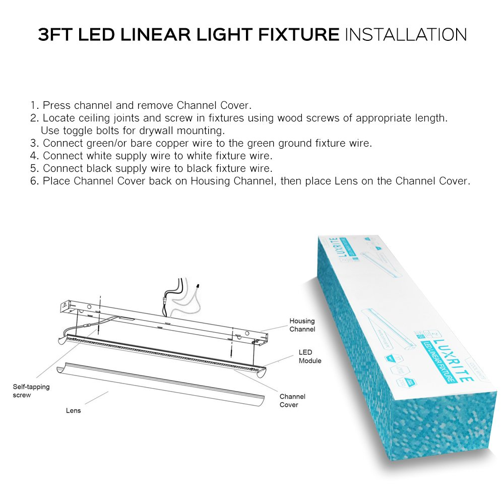 Luxrite 3ft Linear Led Shop Light Fixture 26w 3000k Soft White Wiring A Green Wire 3160 Lumens Damp Rated Strip 120 277v Etl Listed Dlc