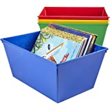 Nest and Stack Tapered Plastic Bins | Set of 4 Assorted Colors