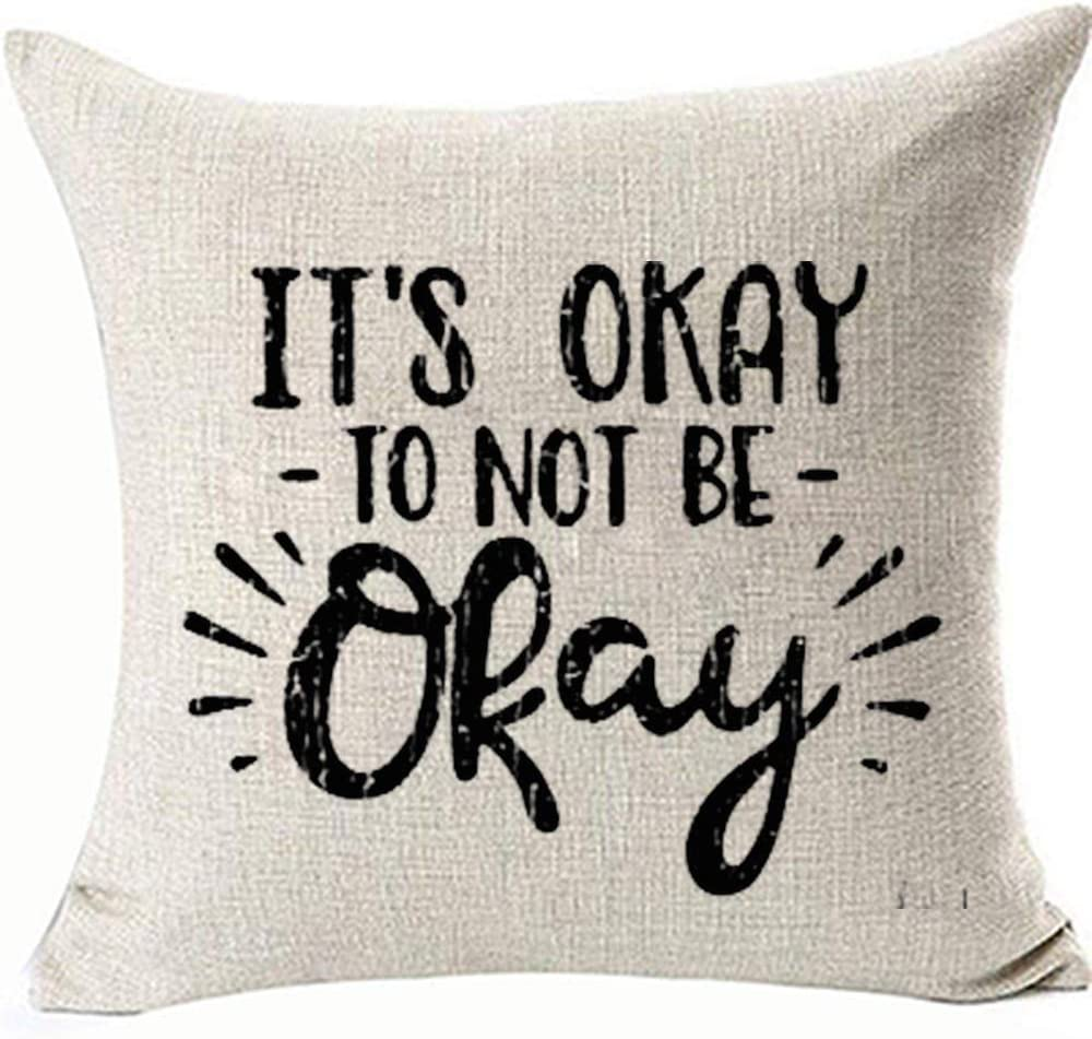 Funny Motivational Throw Pillowcases It's Okay to not be Okay Distressed Pillowcovers for Sofa Chair Gifts Counselor Teacher Mental Health Two Side Removable 18x18inch Color: Motivational