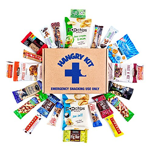 HEALTHY Hangry Kit Snack Sampler - Care Package - Gift Pack - Variety of 25 Healthy Bars, Gum, and other Oven-Baked Chips and Crisps Included - 100%
