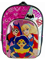DC Comics Super Hero Girls Batgirl, Wonder Woman and Supergirl Backpack with Side Mesh Pockets