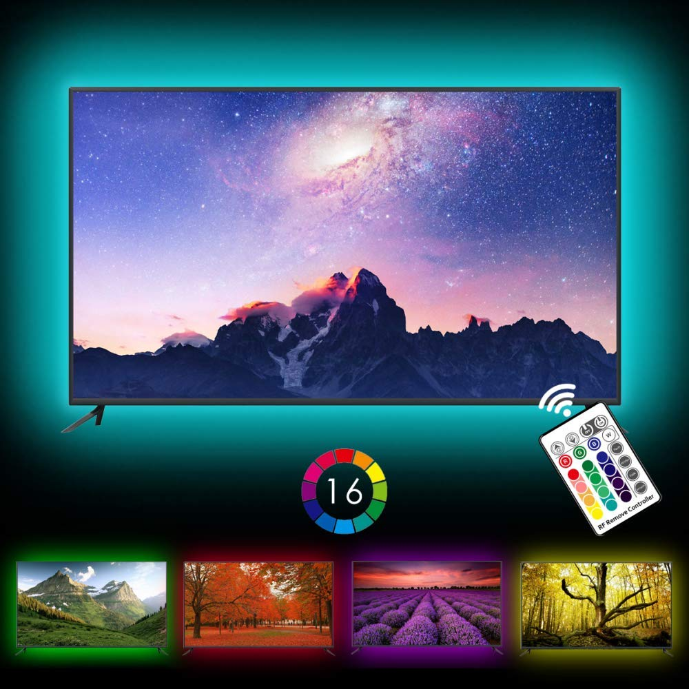 TV Backlight, Avanz TV LED Strip Light for 32-60in TV, Upgraded TV Bias Lighting with 16 Changing Colors & RF Wireless Remove, Waterproof LED Light Strip USB Powered for TV Desktop PC