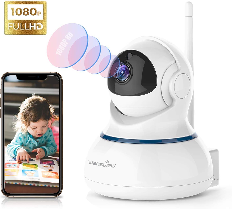 Wansview Caméra IP sans Fil, Caméra Surveillance WiFi, FHD 1080P Caméra Bébé avec Détection de Mouvement, Audio Bidirectionnel, Vision Nocturne Pan/Tilt-Q3S Cloud Nouvelle Version(Blanche)