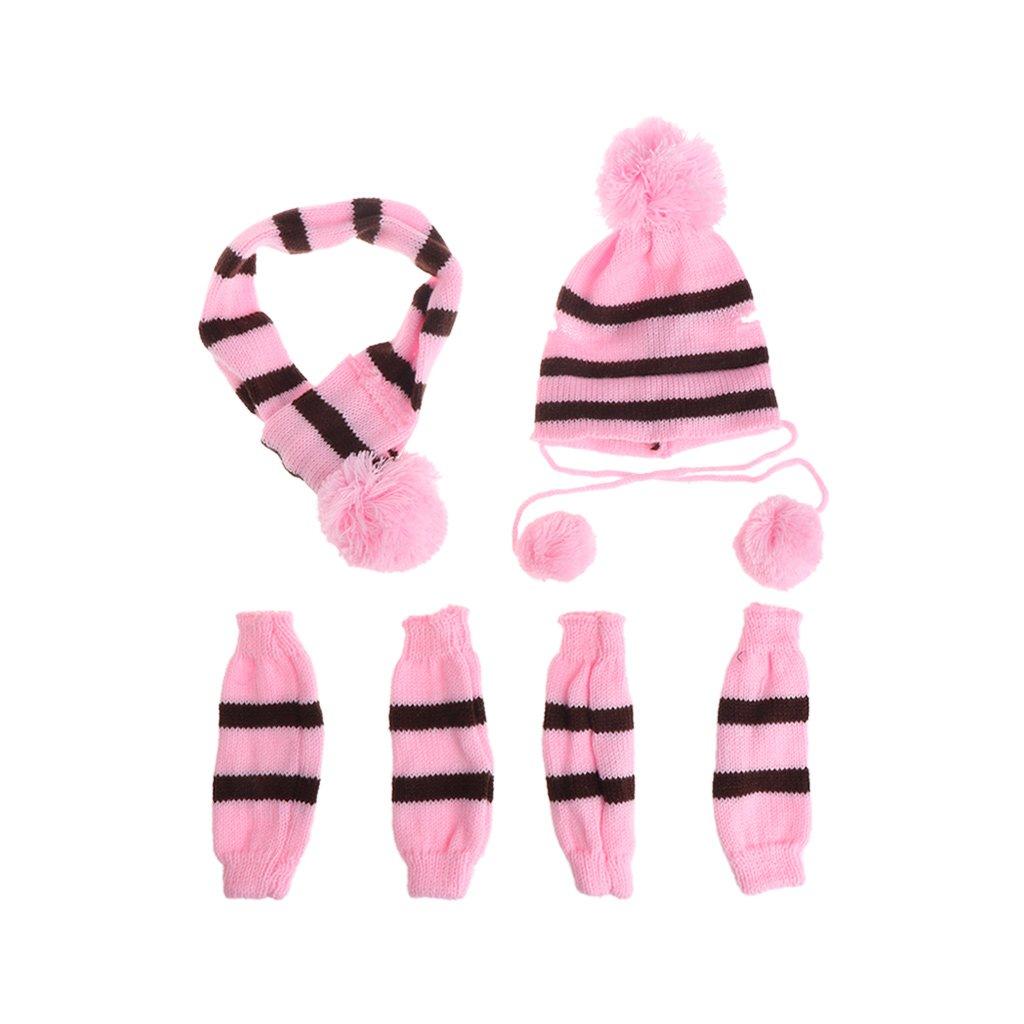 lilingg Winter Pet Warm 3 Piece Stripe Lavorato a Maglia per Cani e Gatti Sciarpa Sock Puppy Costume XS