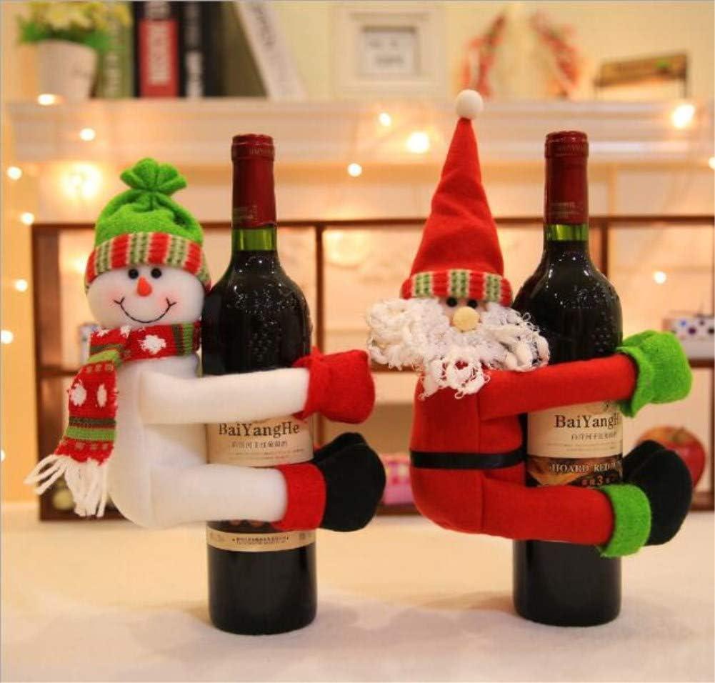Good Sister Bolsa de Vino de Navidad, Santa Claus Botella de Vino Cubierta Bolsas Conjunto Vino Rojo Muñeco de Nieve para Decoración de Mesa del Cena de Navidad: Amazon.es: Hogar