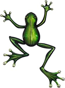 """The Creative Critters Frog Wall Decor – 3D Metal Design - 14 ½"""" x 19"""" - Indoor or Covered Outdoor Wall Ornament – Nature Inspired Home Decoration in Popular Colors – Decorative Wall Décor Hanging"""
