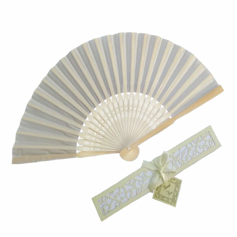 WEN FEIYU 50pcs Silk Fold hand Fan versus Elegant Laser-Cut Gift Box Party or wedding Favors Gifts (Beige)