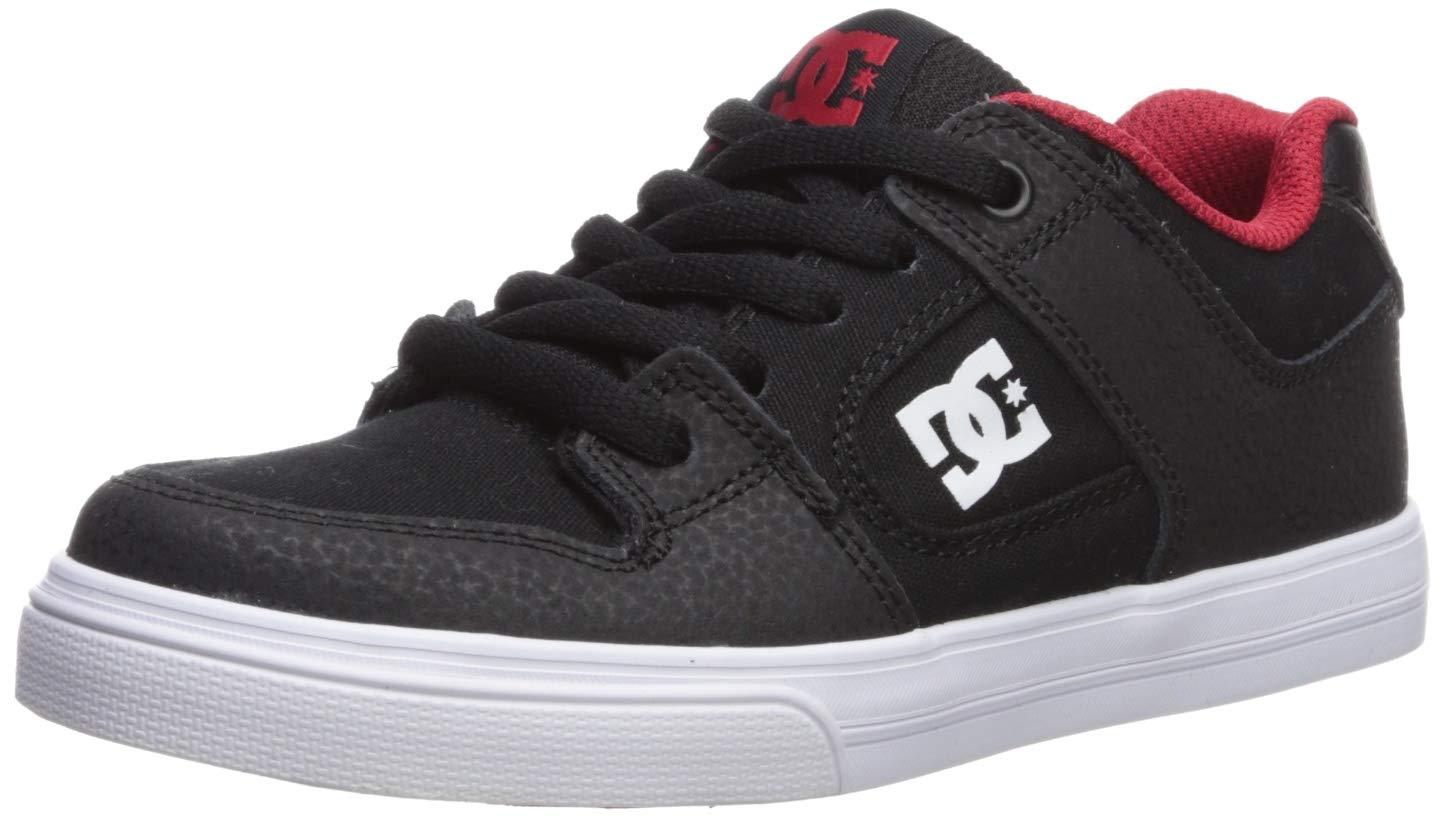 DC Boys' Pure Skate Shoe, Black/Athletic RED/White, 6.5 M US Big Kid