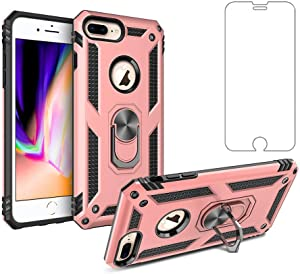 Asuwish Phone Case for Apple iPhone 8 Plus / 7 Plus / 6S Plus / 6 Plus with Tempered Glass Screen Protector Ring Holder Staind Phone7s Phone6s 8plus 7plus 6plus 6splus Shockproof Back Cover(Pink)