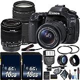 Canon EOS 80D DSLR Camera (Body Only) Canon EF-S 75-300mm Lens, Memory Cards, Flash More Combo Kit International Model