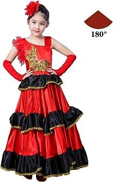 Vestidos de Baile de Ballet Disfraz de niña taurina española Traje de Baile Coro de Baile Traje de actuación escénica (Angle : 180 Degree Angle , Color : Red , Size : 150) : Amazon.es: Juguetes y juegos
