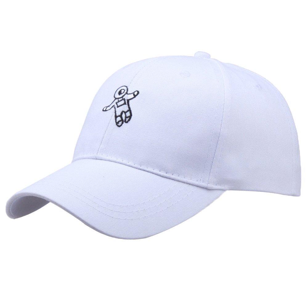 Cealu Unisex Men Women Astronaut Emberoidery Fashion Hat, Hip Hop Distressed Baseball Hat Cap Adjustable Snapback Hats (White)