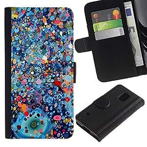 Paccase / Billetera de Cuero Caso del tirón Titular de la tarjeta Carcasa Funda para - Psychedelic Blue Painting Pollock - Samsung Galaxy S5 V SM-G900