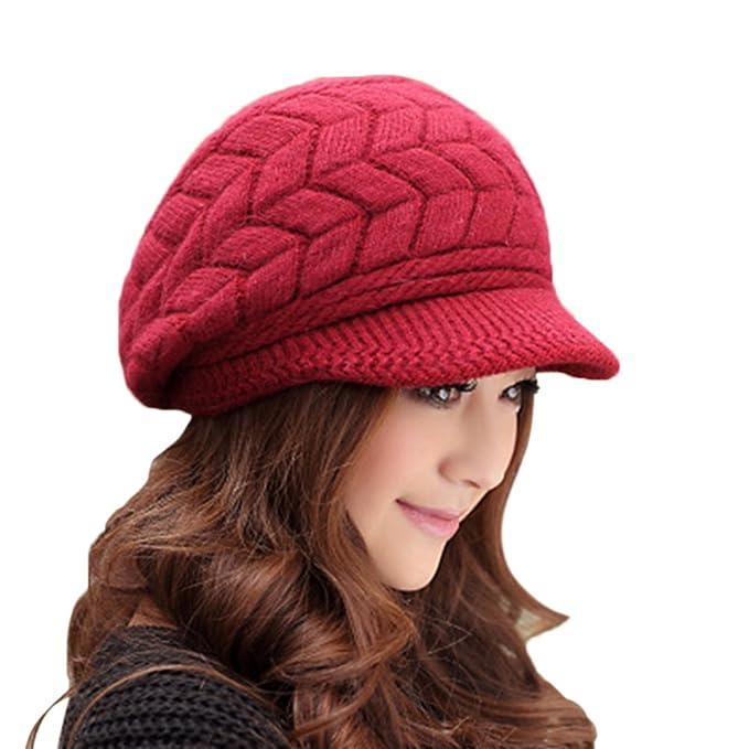 31b7678c48cc78 EachWell Women Winter Visor Hat Warm Knit Hat Cap Anti Wind Beige at Amazon  Women's Clothing store: