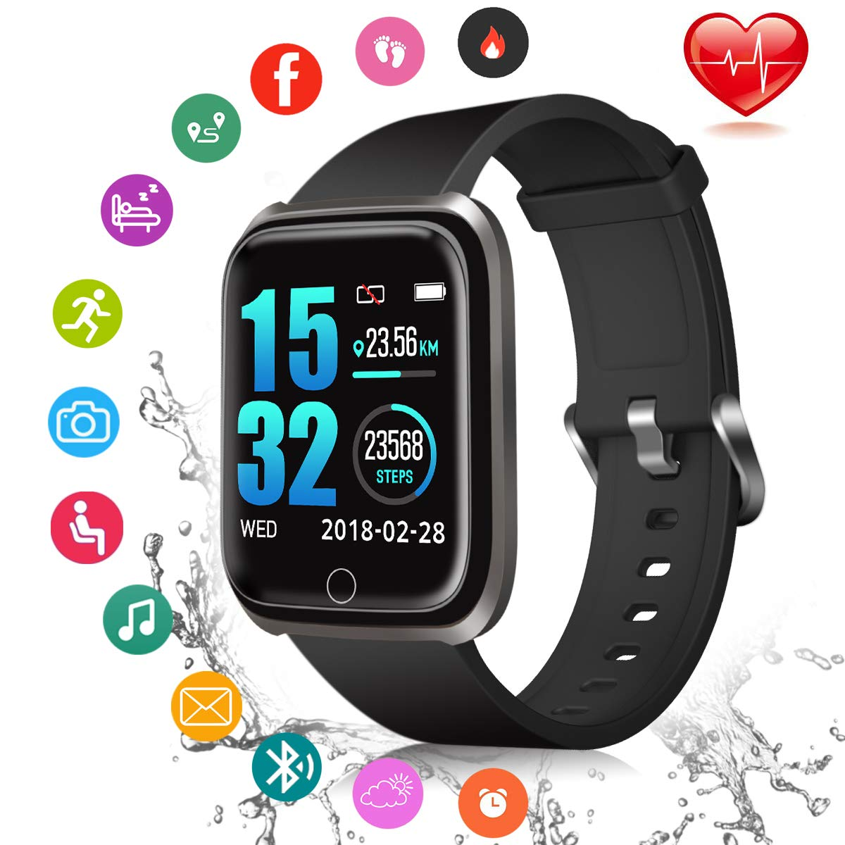 Fitness Tracker, Smart Watch Fitness Watch Activity Tracker with Sleep Monitor Heart Rate Measure IP67 Waterproof Sports Watch, Smartwatch for Android iOS Men Women Kids by iFuntecky