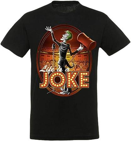 Camiseta negra inspirada en el Guasón, el villano de Batman.,En la camisa negra se ve al Guasón en u