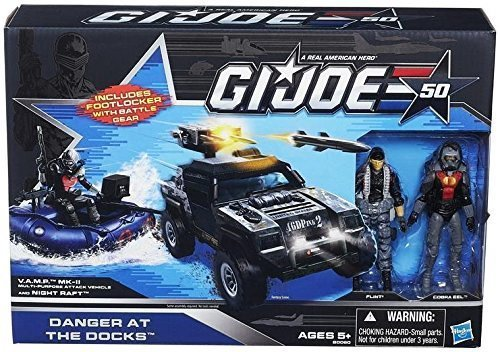 G.I. Joe 50th Anniversary Danger at the Docks Toys R Us Exclusive with Cobra Night Raft, VAMP Mark II Attack Vehicle (Grey & Black Camo Version), Flint & Cobra Eel Action Figures ()