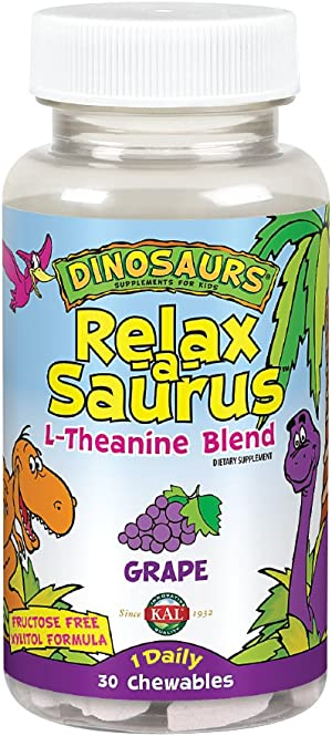 KAL® Relax-a-Saurus | Stress Support for Kids | L-Theanine Relaxation Blend for Children | Grape Flavor Chewables | 30 Servings