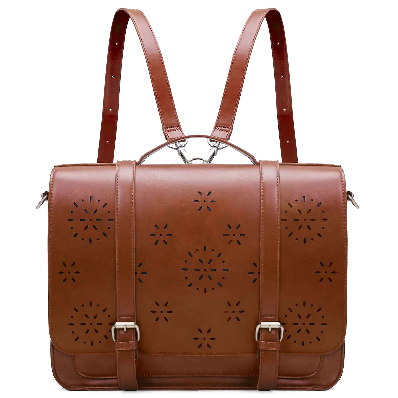 ECOSUSI Umhängetasche Vintage Damen Rucksack Laptoptasche 14 Zoll