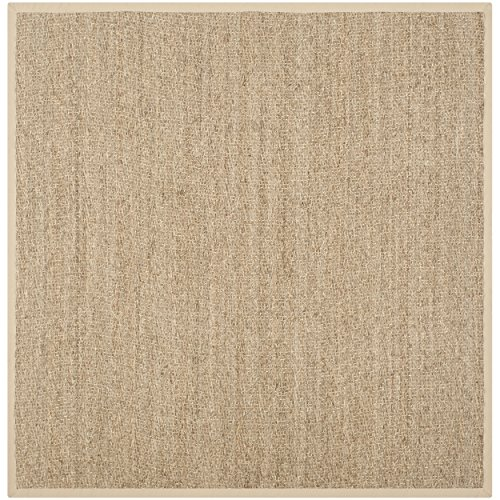 Safavieh Natural Fiber Collection NF115A Natural and Beige Seagrass Square Area Rug, 10 feet Square (10' Square) (Coastal Living Decor)