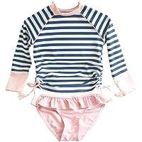 Jingle Bongala Little Girls Long Sleeve Rash Guard 2-Piece Swimsuit Set - with UPF 50+ Sun Protection