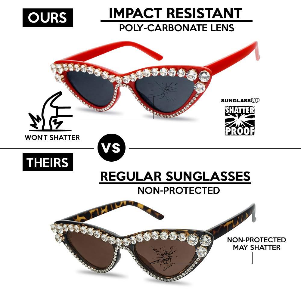 48d325195a Amazon.com  SunglassUP Rhinestone Studded Elegant Jeweled Oval Vintage Cat  Eye Sunglasses Women Diamond Shades (Black Frame