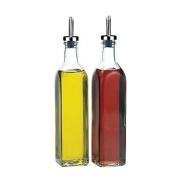 Get Goods Italiano – Juego de 2 botellas de dispensador de aceite y vinagre, vidrio
