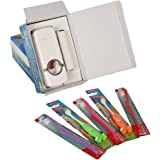 PackNBUY Toothpaste Dispenser with Toothbrush Holder + 5 Royal Toothbrushes - WHITE Color