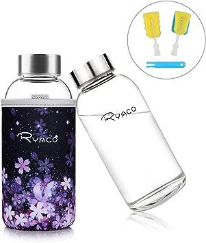 Ryaco Botella de Agua Cristal 360ml, Botella de Agua Reutilizable ...