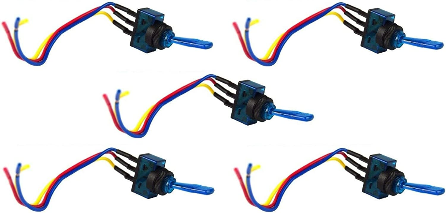 Amazon Com Blue Toggle Switch W 6 Lead Wire 3 Pin Spst Car Audio Power Fog Lights 5 Pcs Jacket Cables Electronic Stranded Wire Cable Electrics Diy Garden Outdoor