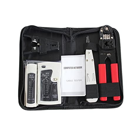 Onepeak Compression Cable Crimping Pliers Tester Connector Flat Cord Wire Alicate Network Tool Four Sets Pouch Bag Pack Pocket - - Amazon.com
