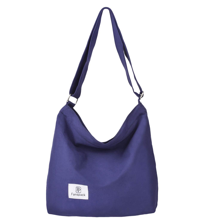 Fanspack Women's Canvas Hobo Handbags Simple Casual Top Handle Tote Bag Crossbody Shoulder Bag Shopping Work Bag (Blue-Original Design)