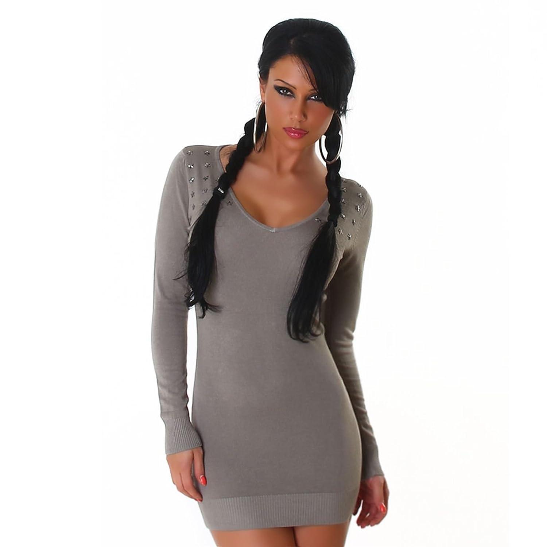 Knit dress / jersey dress with v-neck (L651)