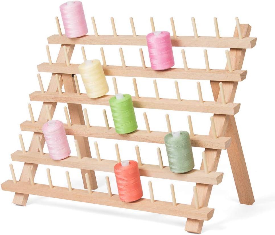 HAITRAL Estante de madera para hilo de coser, organizador de 60 ...