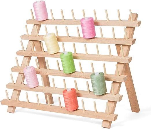 HAITRAL Estante de madera para hilo de coser, organizador de 60 bobinas de hilo de coser, bobinas de bordado, soporte de almacenamiento, herramientas de costura para ...