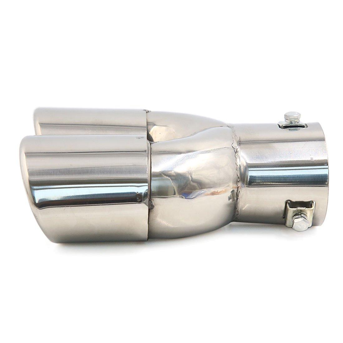 sourcing map 70x65mm Tubo Cola de Escape Doble Forma Ovalada de Coche Acero Inoxidable Plateado